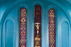 Stained glass windows in Christ Church, Port Antonio, Jamaica Stock Image