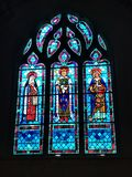 Stained Glass Windows in a church stock photo