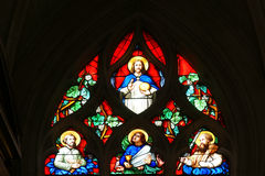 Stained glass windows Church of Saint-Germain Stock Images