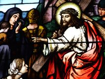 Stained Glass on the windows of the church of St. Mauritius in the city of Appenzell royalty free stock photography