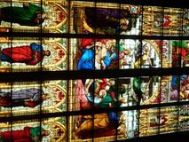 Stained glass windows in Cologne Cathedral. Epiphany - Adoration of the Magi - Church window in Dom of Cologne - christian feast celebrated on 6 January Stock Photography