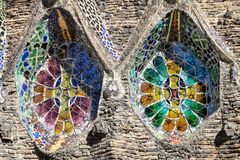 Stained Glass Windows of the Colonia Guell Church. In Santa Coloma de Cervello, Spain Royalty Free Stock Photography