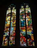 Stained Glass Windows created by the Polish painter, Jozef Mehoffer, between 1896 and 1936, is located in St. Nicolas cathedral Royalty Free Stock Photo