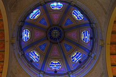 Stained-glass windows in dome of Hoorn church Stock Images