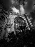 Stained glass windows exterior of the Milan Cathedral. stock image