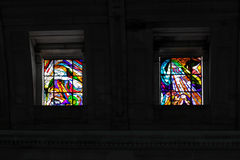 Stained glass windows of Fatima stock photos