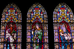 Stained glass windows of Freiburg Minster Royalty Free Stock Image