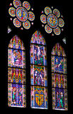 Stained glass windows of Freiburg Minster Royalty Free Stock Photos