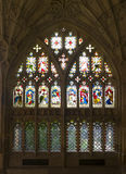 Stained glass windows in Gloucester Cathedral Stock Photos