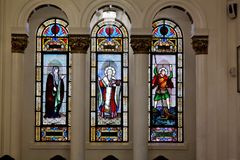 Stained glass windows in Greek Orthodox Cathedral. St. Nicholas Greek Orthodox Cathedral, is a historic church building and center for Greek-American life in Stock Photo