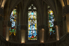 The stained glass windows inside Chapel St. Hubert. Where Leonardo Da Vinci is buried in Amboise, France Stock Photo