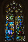 The stained glass windows inside Chapel St. Hubert Stock Photo