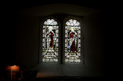 Stained glass windows inside the church Royalty Free Stock Photos