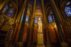 Stained glass windows inside the Sainte Chapelle in Paris, France stock image