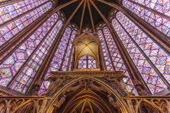 Stained glass windows inside the Sainte Chapelle a royal Medieval chapel in Paris, France. Europe Royalty Free Stock Photography