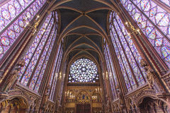 Stained glass windows inside the Sainte Chapelle a royal Medieval chapel in Paris, France. Europe Stock Photos
