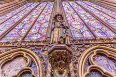 Stained glass windows inside the Sainte Chapelle a royal Medieval chapel in Paris, France. Europe Royalty Free Stock Images