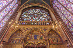 Stained glass windows inside the Sainte Chapelle a royal Medieval chapel in Paris, France Stock Photos