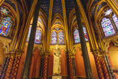 Stained glass windows inside the Sainte Chapelle a royal Medieval chapel in Paris, France Royalty Free Stock Photo
