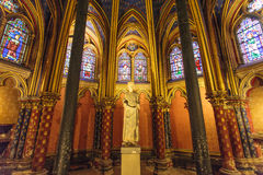 Stained glass windows inside the Sainte Chapelle a royal Medieval chapel in Paris, France Royalty Free Stock Image