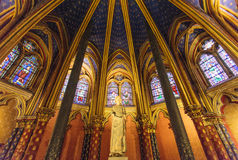 Stained glass windows inside the Sainte Chapelle a royal Medieval chapel in Paris, France. Europe Stock Photography