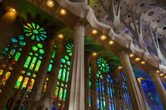 Stained glass windows of La Sagrada Familia Stock Photo