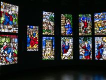 Stained-glass windows in Museum of Duomo of Milan stock photos