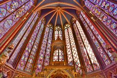Free Stained-glass Windows Of Upper Chapel Of Sainte-Chapelle In Paris, France Stock Image - 183107661