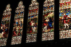 Stained glass windows of Old South Church,Boston. Gorgeous view of stained glass windows in the Old South Church show the craftsmanship of architects,Boston,Mass Royalty Free Stock Photography