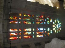Stained glass windows of Sagrada Familia Stock Images