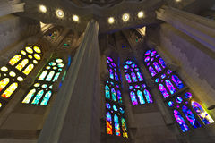 Stained glass windows -Sagrada Familia -Barcelona Royalty Free Stock Images