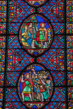 Stained glass windows of Saint Gatien cathedral in Tours, Royalty Free Stock Images