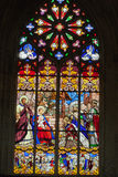 Stained glass windows of Saint Gatien cathedral in Tours, Royalty Free Stock Image