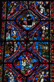 Stained glass windows of Saint Gatien cathedral in Tours Stock Image