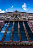 Stained glass windows on the side of a church in Boston, Massach Stock Images