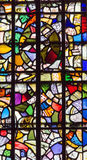 Stained glass windows in St John's Chapel, inside the White Tower, Tower of London. UK Royalty Free Stock Images