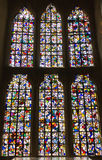 Stained glass windows in St John's Chapel, inside the White Tower, Tower of London. UK Stock Image