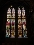 Stained Glass Windows in St. Nicolas cathedral, created by the Polish painter Jozef Mehoffer between 1896 and 1936, Fribourg Stock Photo