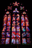 Stained Glass Windows of St. Vitus Cathedral. Prague, Czech republic Stock Images