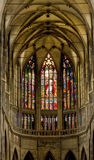 Stained glass windows of St. Vitus in Prague Royalty Free Stock Photo