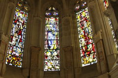 Stained glass windows and stonework Stock Photos
