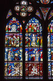Stained-glass windows of Strasbourg Cathedral, Alsace, France Stock Photos