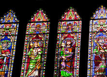 Stained glass windows. Stained glass window figures of kings Royalty Free Stock Photo