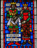 Stained Glass in Worms - Charlemagne and Fastrada. Stained Glass in Wormser Dom in Worms, Germany, depicting the Third Marriage of Charlemagne or Charles the Royalty Free Stock Photography