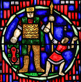Stained Glass in Worms - David and Goliath Royalty Free Stock Images