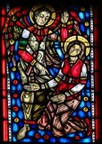 Stained Glass in Worms - Gabriel and Mother Mary Stock Photos