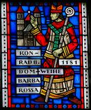 Stained Glass in Worms - Konrad II. Stained Glass in Wormser Dom in Worms, Germany, depicting Konrad II von Sternberg, the Bishop who ordered the Construction of Stock Photos
