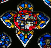 Stained Glass in Worms - New Jerusalem. Stained Glass in Wormser Dom in Worms, Germany, depicting the New Jerusalem, capital of the Messianic Kingdom Stock Photography