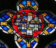 Stained Glass in Worms - New Jerusalem. Stained Glass in Wormser Dom in Worms, Germany, depicting the New Jerusalem, capital of the Messianic Kingdom Royalty Free Stock Images