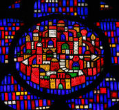 Stained Glass in Worms - New Jerusalem. Stained Glass in Wormser Dom in Worms, Germany, depicting the New Jerusalem, capital of the Messianic Kingdom Stock Images